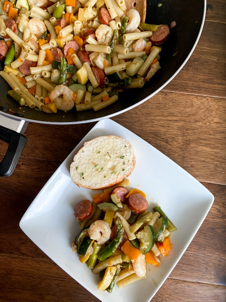 recipes with rachel shrimp and sausage with veggies